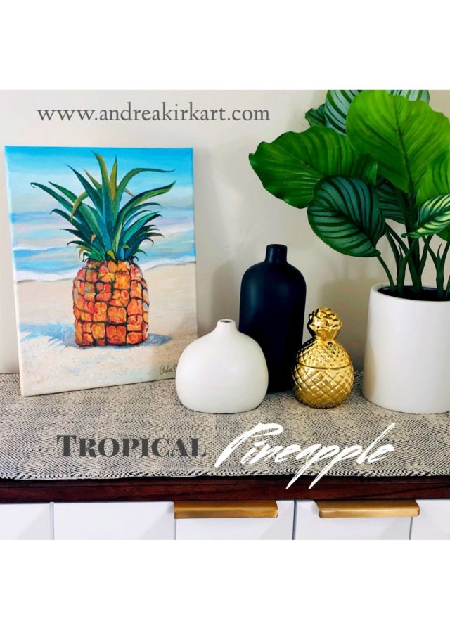 pineapple print in silver frame decor